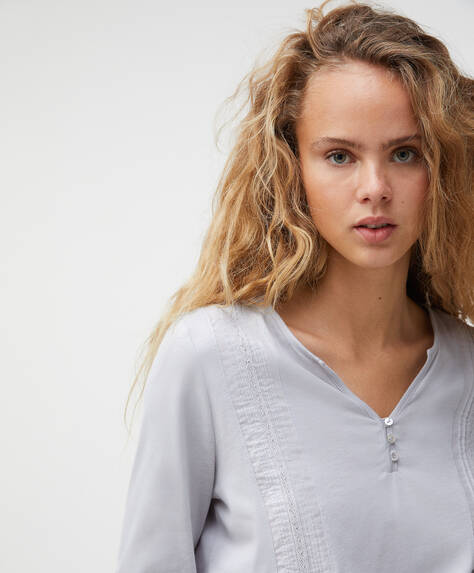 Camiseta algodón bordado liso