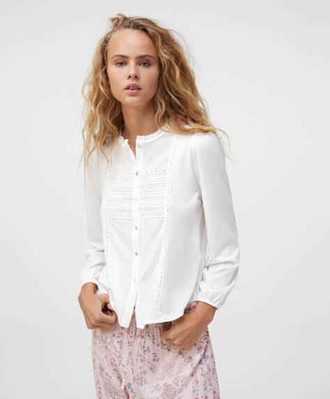Plain embroidered cotton shirt