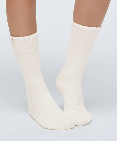 Plain ribbed socks