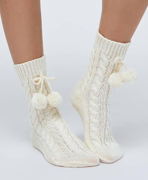 Aran pompom socks