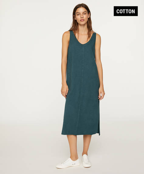Strappy cotton midi dress