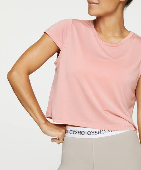 Cropped modal T-shirt