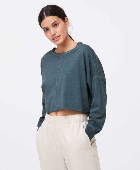 Cropped cotton T-shirt