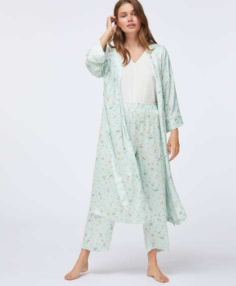 Aqua green floral bath robe