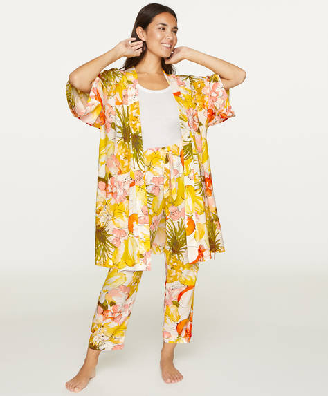 Tropical fruit bath robe