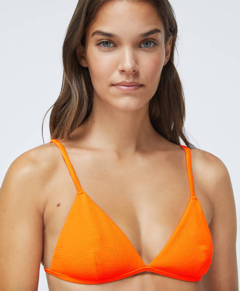 Fluorescent triangle bikini top