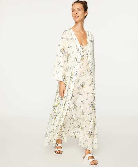 Ikat cotton floral dressing gown