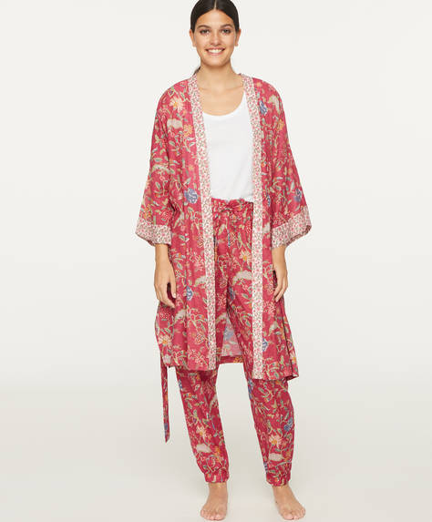 Coral Indian floral cotton dressing gown