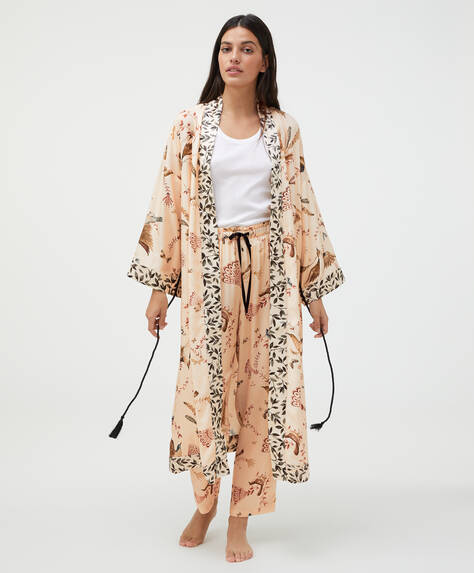 Bird print bath robe