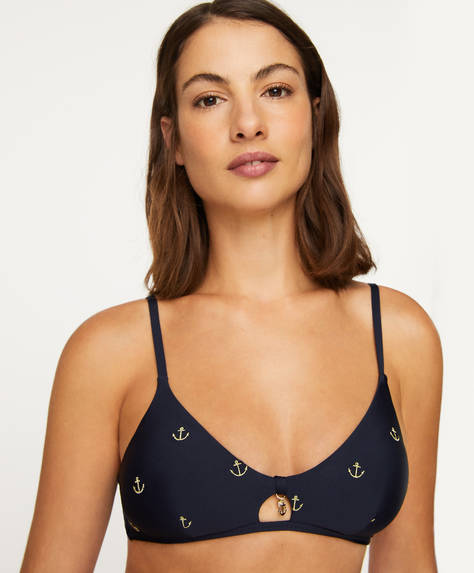 Anchor triangle bikini top