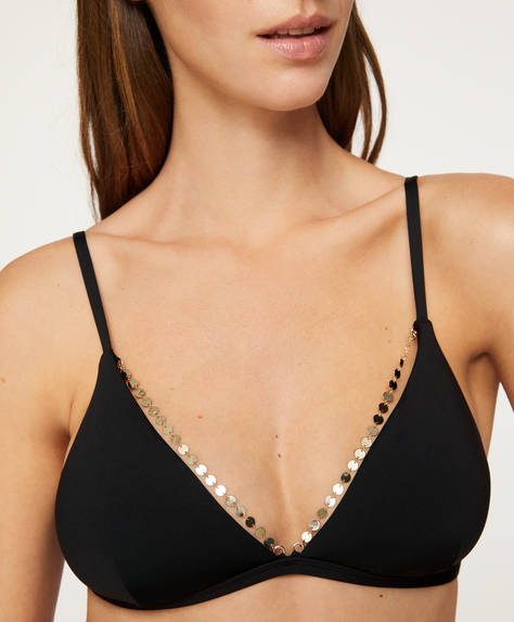 Jewelled triangle bikini top