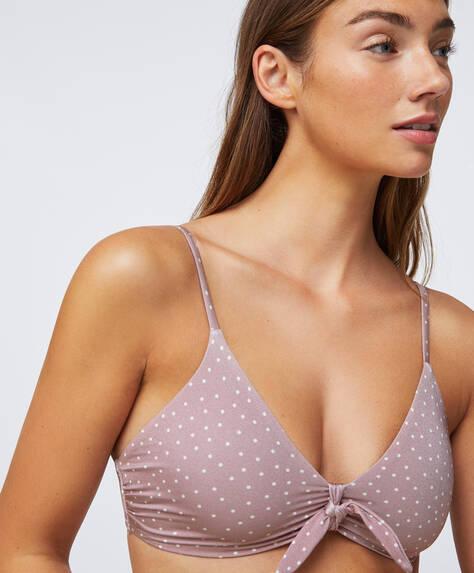 Puantiye desenli bikini üstü