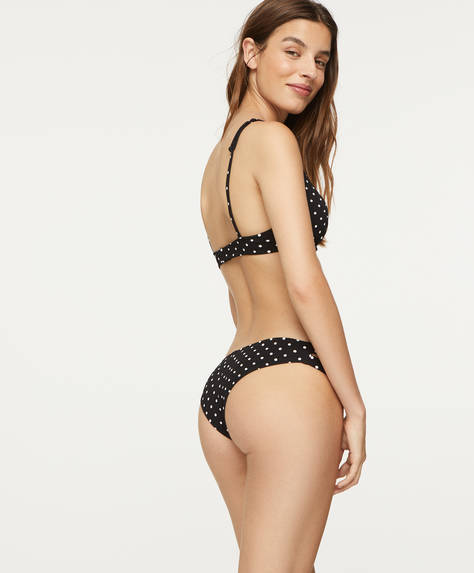 Structured Brazilian bikini briefs with polka dot print