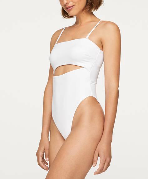 High-leg bandeau slit swimsuit