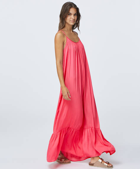 Long pink satin dress