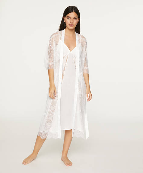 Lace lingerie bath robe