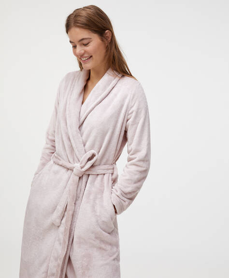 Long mauve soft dressing gown