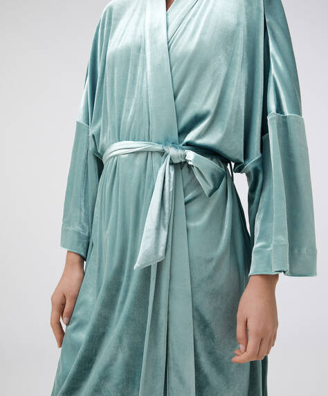 Long blue velvet dressing gown