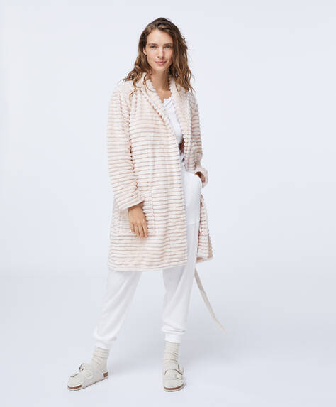 Chunky stripe dressing gown
