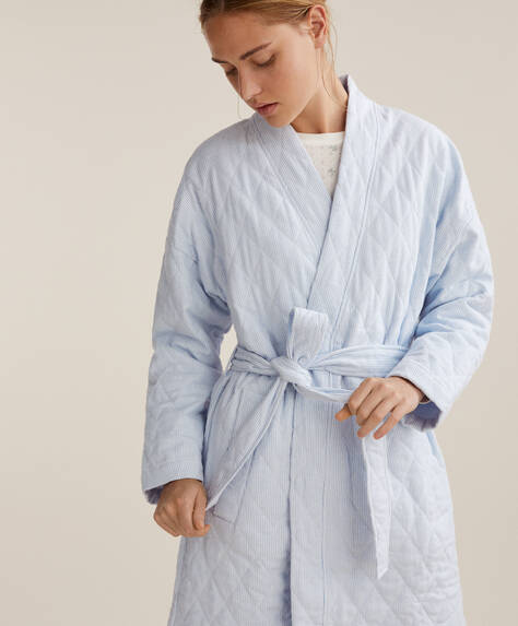 Quilted 100% cotton dressing gown