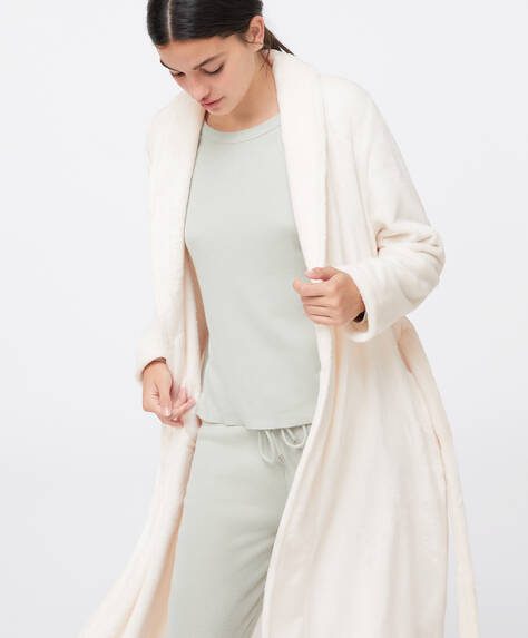 Long cream fleece dressing gown
