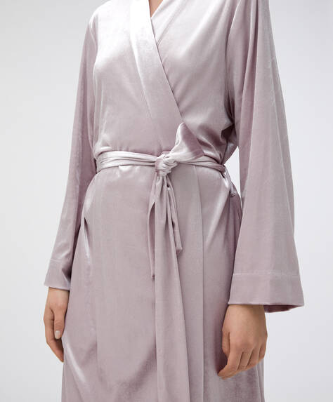 Long mauve velvet dressing gown
