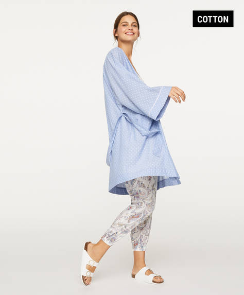 Blue plumeti shirt bath robe