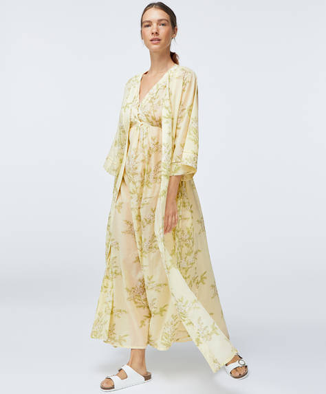 Cotton yellow floral dressing gown