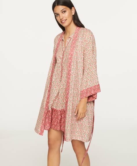 Pink Indian floral cotton bath robe