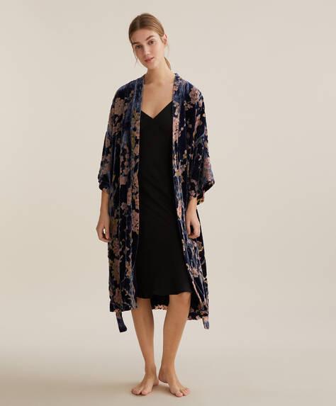 Floral velvet dressing gown