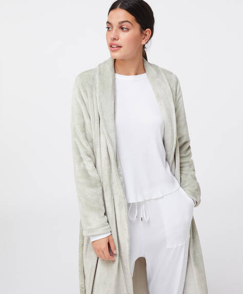 Long green fleece dressing gown