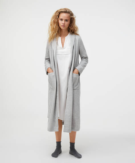 Piqué effect long grey dressing gown