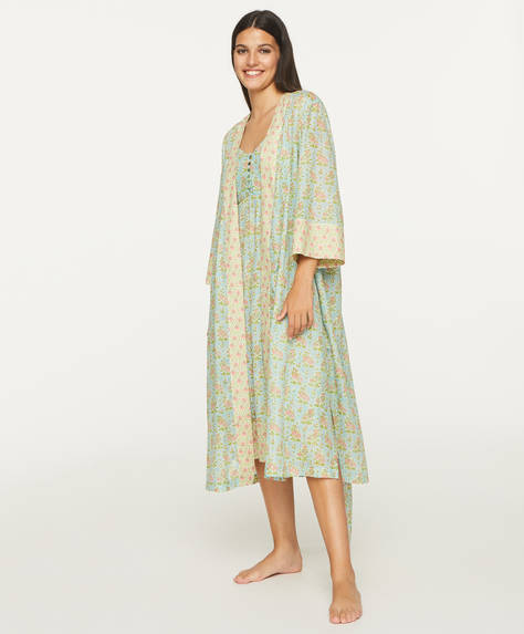 Turquoise floral cotton bath robe