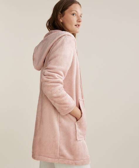 Hooded fleece dressing gown