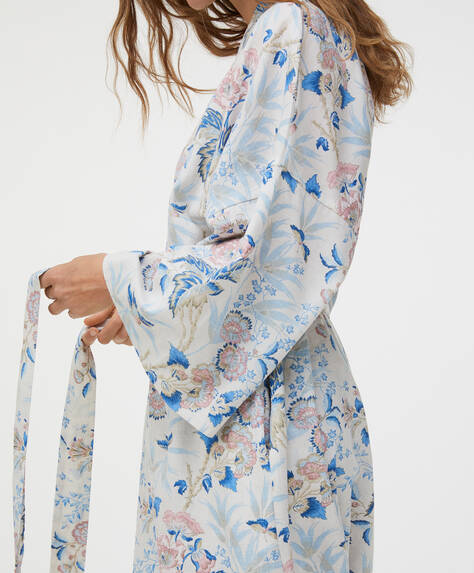 100% cotton floral dressing gown