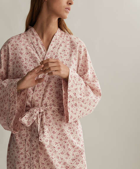 Red ditsy floral 100% cotton dressing gown