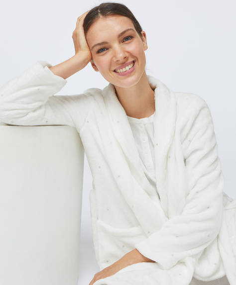 Dotty ecru soft bath robe
