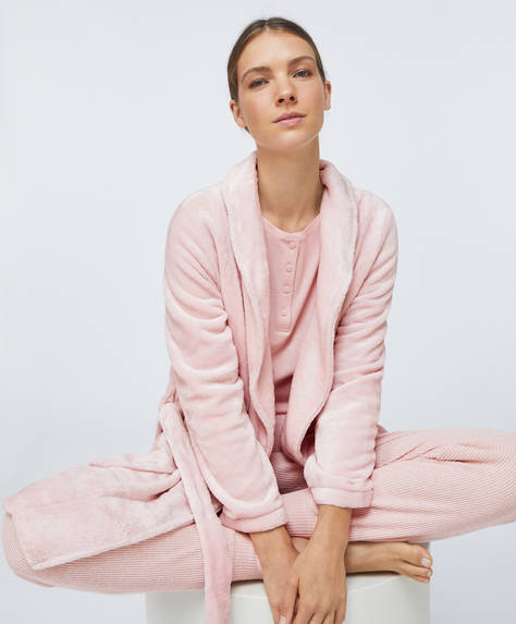 Plain pink soft bath robe