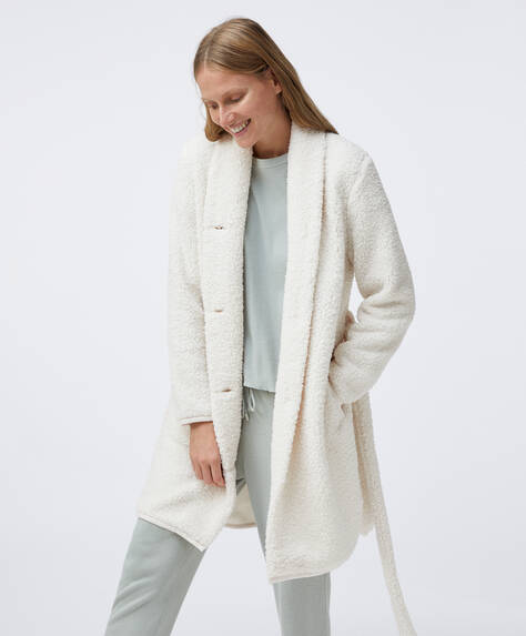 Ecru fleece dressing gown
