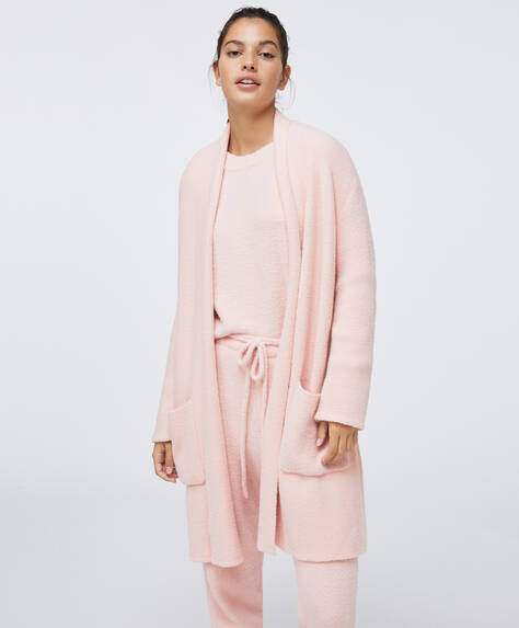 Soft touch fluffy dressing gown