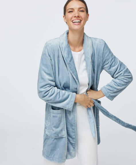 Soft blue bath robe with polka dots