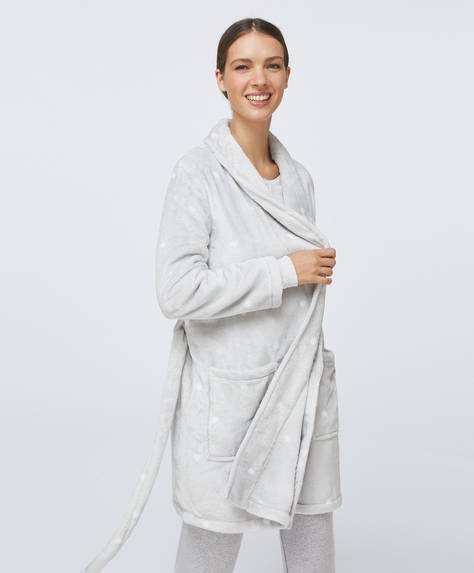 Grey soft bath robe with hearts