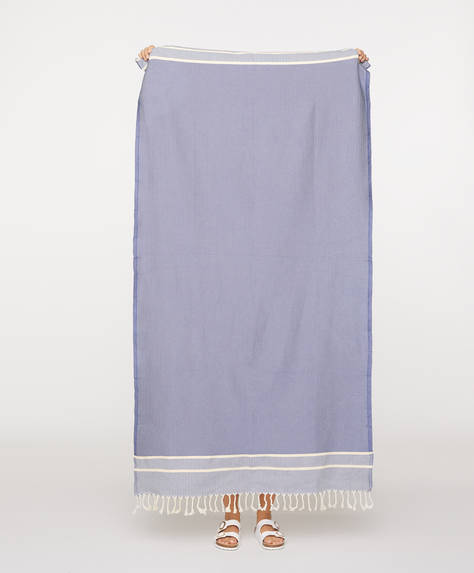 Blue cotton jacquard towel