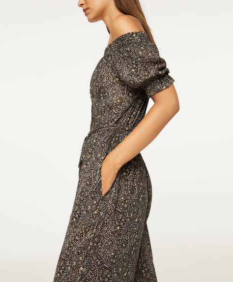 Off-shoulder paisley jumpsuit