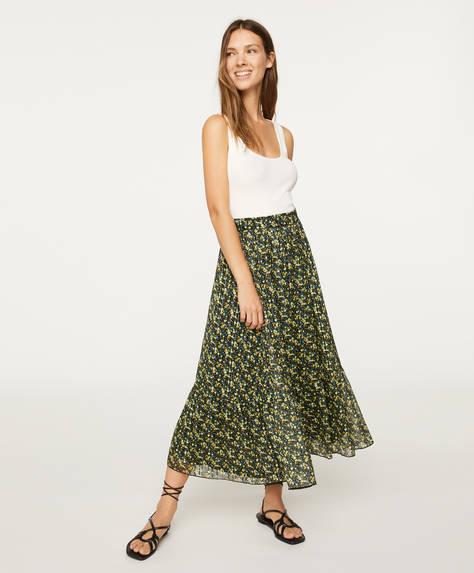 Μίντι φούστα με λουλουδάκια
