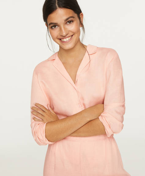 Chemise avec lin rose