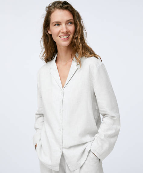 Oberteil aus 100% einfarbiger Baumwolle in Grau