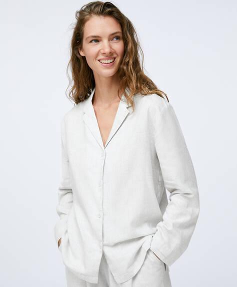 Camisa 100% algodón lisa gris