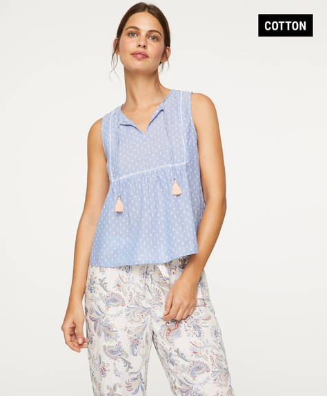 Blue plumeti sleeveless shirt