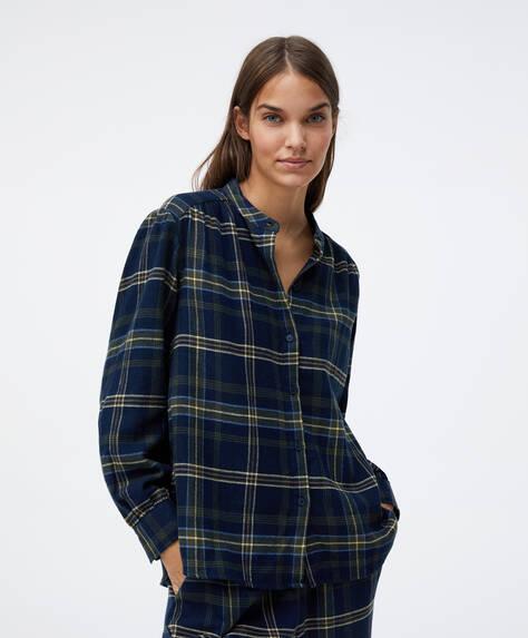 Camicia 100% cotone a quadri blu navy